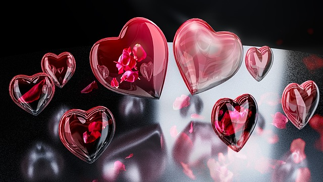 Hearts, Reflections, Romance, Valentine's Day