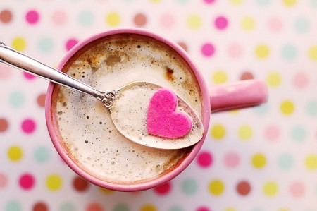 mug, spoon, heart, hot chocolate, pink