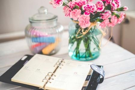 flowers, desk, office, planner, spring