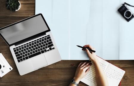 laptop, writing, notebook, pen, hand