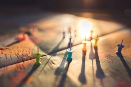 map, pin, travel, distance, sun