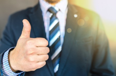 thumbs up, suit, tie, man, business