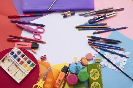 school, supplies, pen, pencils, colors, eraser, scissors