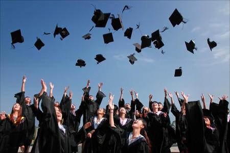 graduation, graduate, college, cap, gown, sky