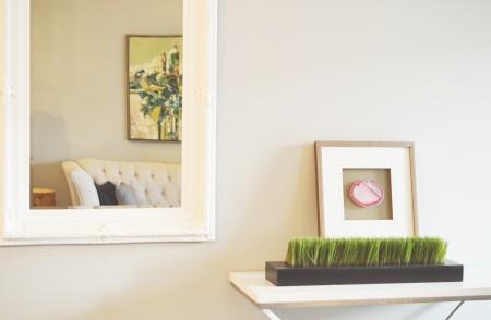 mirror, wall, white, table, art, room