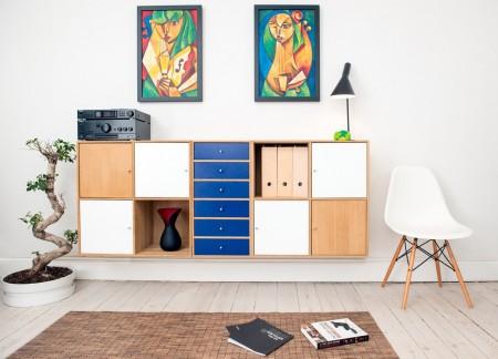storage, art, wall, white, table, chair