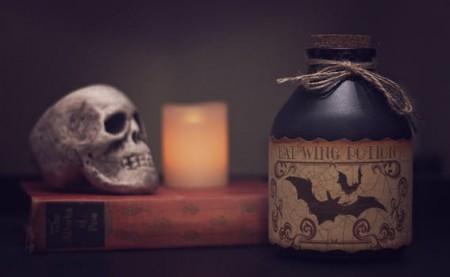 candle, skull, Halloween, decor, bats