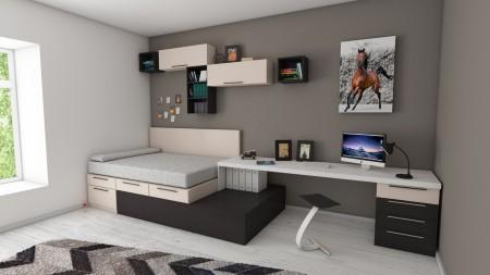 bed, room, desk, wall, art, rug