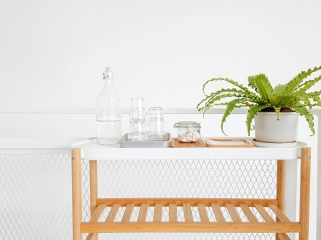 minimal, white, table, plant, glass