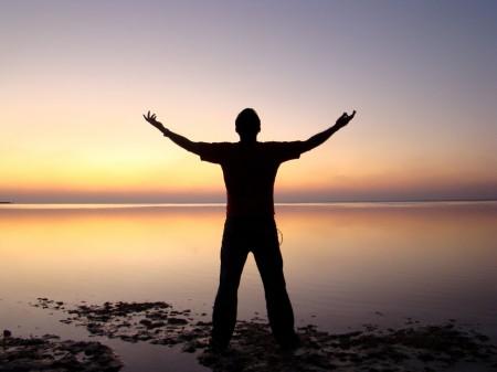 man, sky, hands, victory, beach