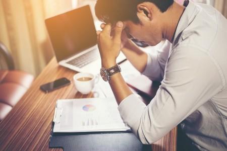 work, stress, laptop, desk, paper, man