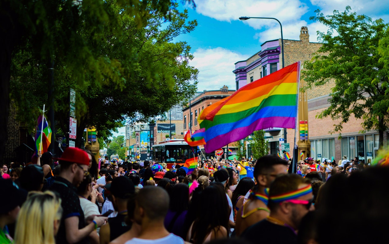 pride, lgbt, flag, people, parade, fun