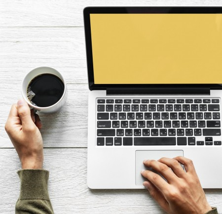 computer, laptop, coffee, yellow, hands, person