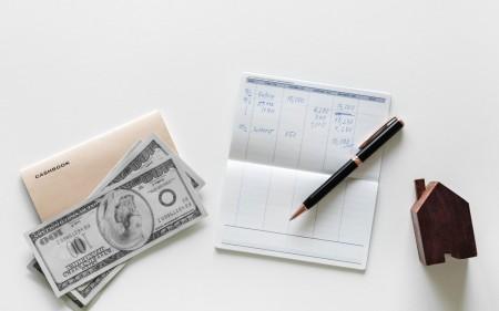 check, money, checkbook, pen, desk, cash
