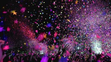 festival, colorful, music, group, people, confetti, fun