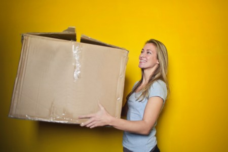 move, moving, boxes, woman, yellow, home