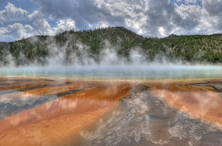 yellowstone, trees, geyser, sky, clouds, water, beautiful, nature