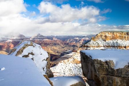 grand canyon, nature, snow, sky, beautiful